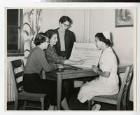 1956 Nursing Students Planning the Rheumatic Fever Charity Ball
