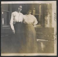 """1913 """"Pals"""" Students on the Porch of Tower Hall"""