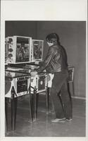 1970s Games Room Man at Pinball Machine
