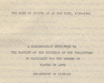 "Scanlon, Sister Ann Edward, O.S.B. ""The Rise of Duluth as an Ore Port, 1890-1901"""