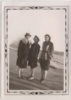 1939-41 Three Students Standing in Winter Coats Outside