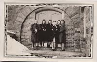 1941 February Six Students Standing Outside the Cloister Walk Door