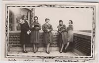 1939-41 Five Students Standing Outside Tower Hall in Winter Coats