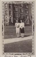 1939 October Lorraine Baer and Lorraine Young Outside in Front of Tower Hall