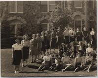 1940 First Year Students Standing in Front of Tower Hall