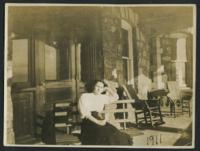 1911 Student on Tower Hall's Porch