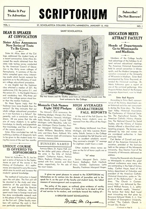Scriptorium Student Newspaper (1932-41) More issues coming all the time!