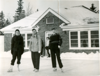 1950s Students on Ice Rink in front of the Pinecone Building